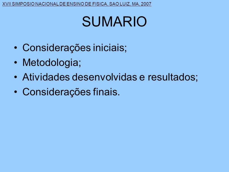 SUMARIO Considerações iniciais; Metodologia;
