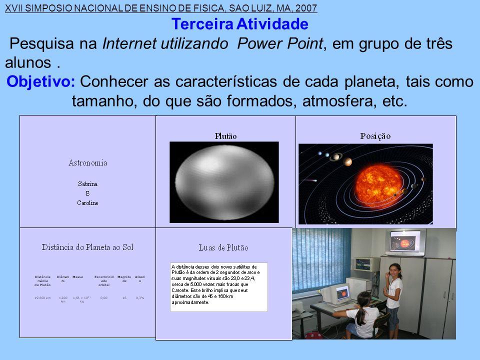Terceira Atividade Pesquisa na Internet utilizando Power Point, em grupo de três alunos .