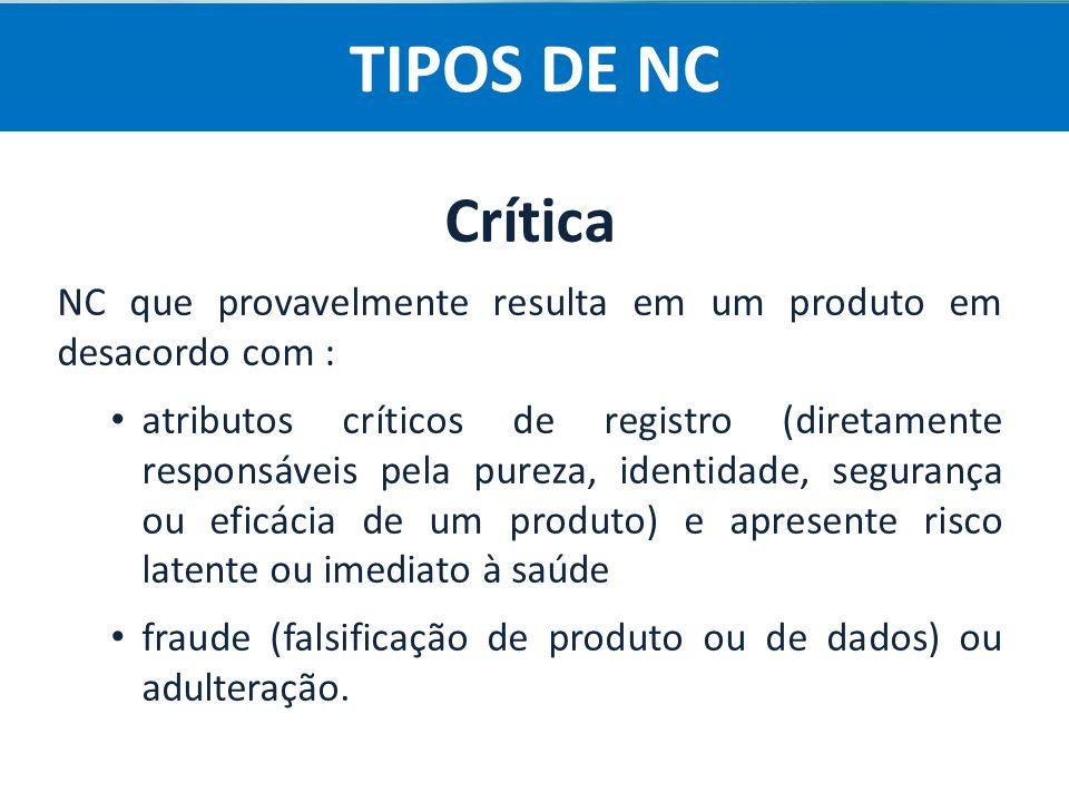 TIPOS DE NC Crítica. NC que provavelmente resulta em um produto em desacordo com :
