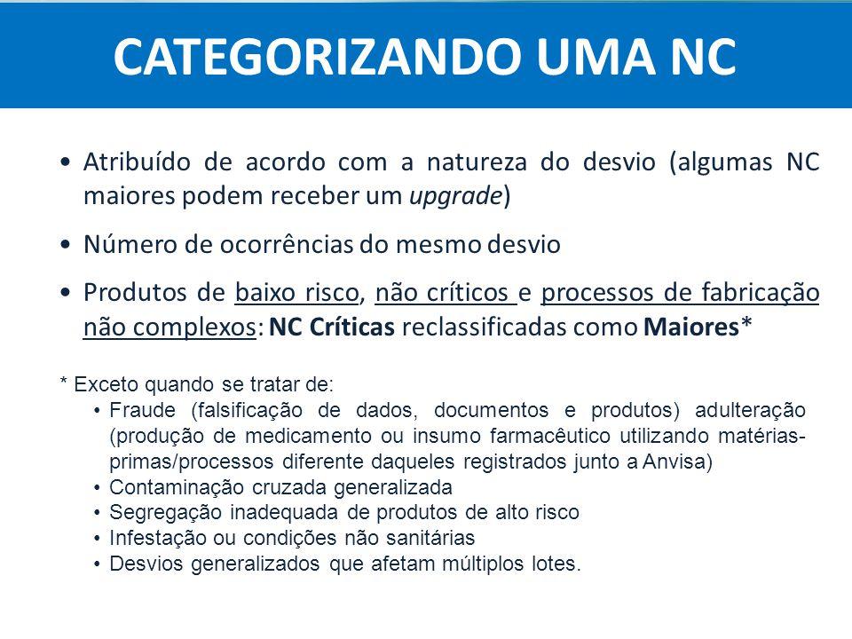 CATEGORIZANDO UMA NC Atribuído de acordo com a natureza do desvio (algumas NC maiores podem receber um upgrade)