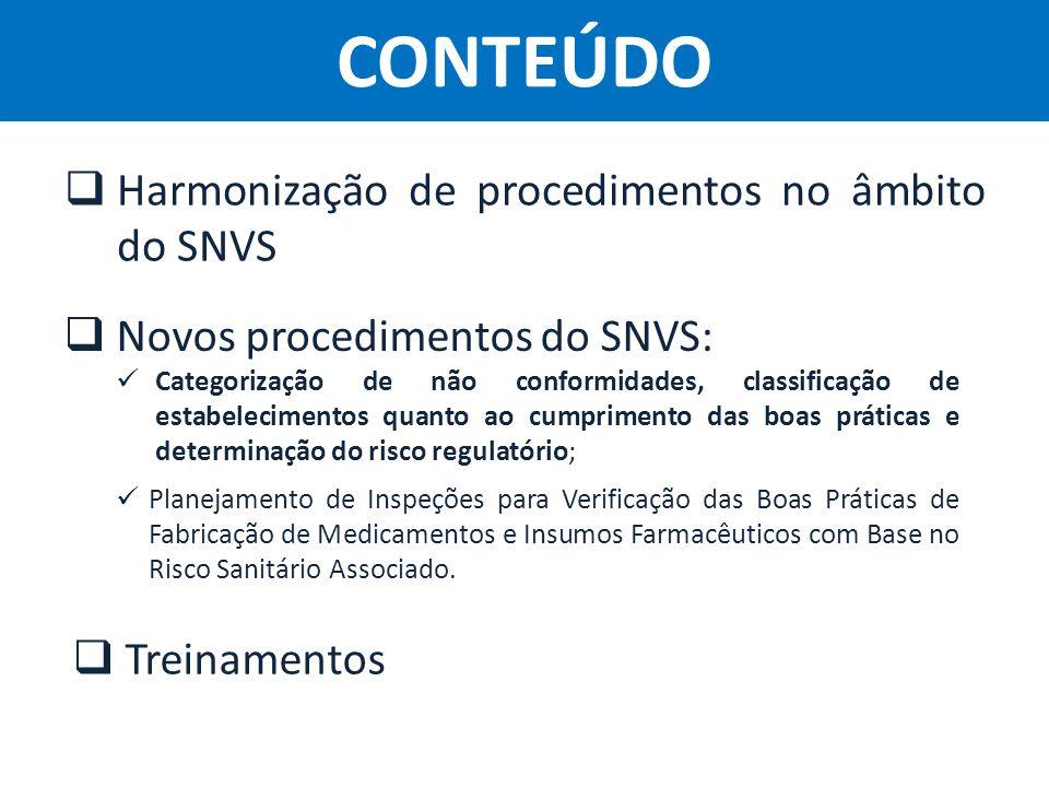CONTEÚDO Harmonização de procedimentos no âmbito do SNVS