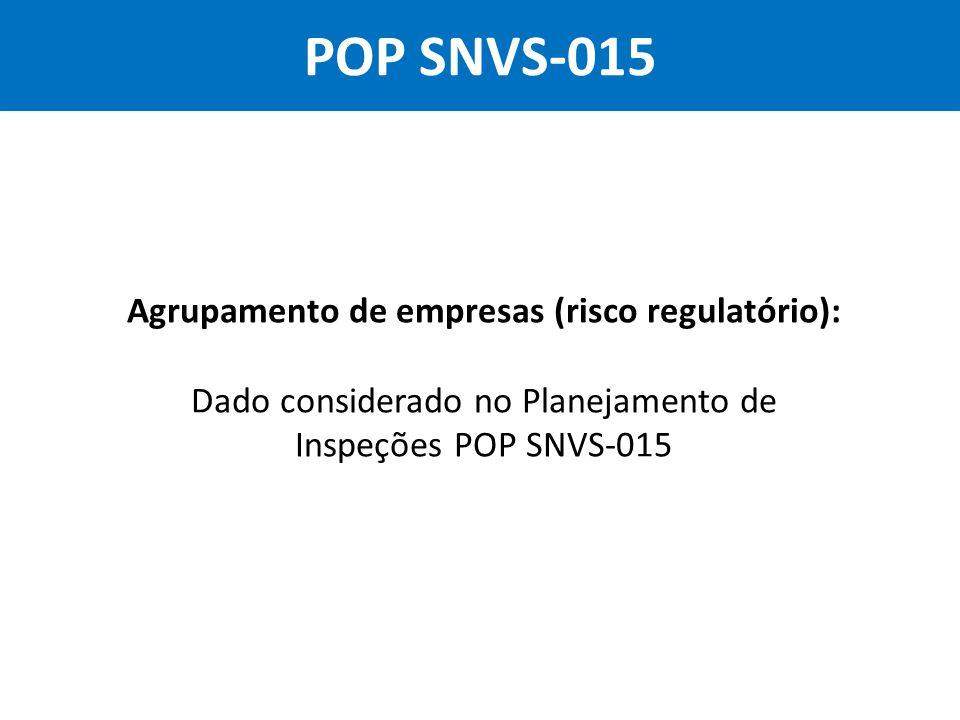 Dado considerado no Planejamento de Inspeções POP SNVS-015