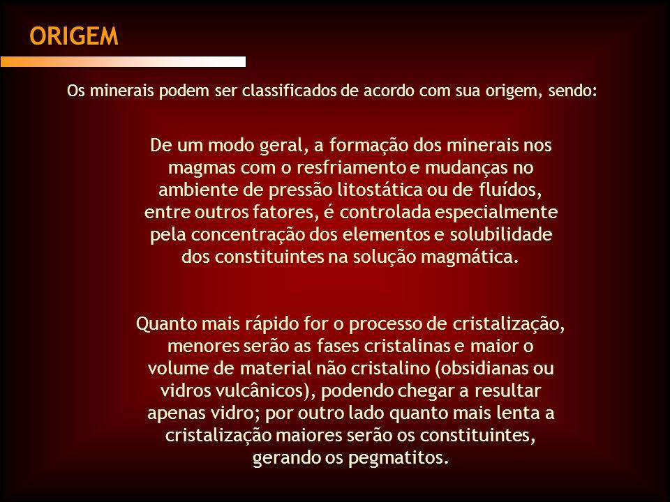 ORIGEM Os minerais podem ser classificados de acordo com sua origem, sendo: