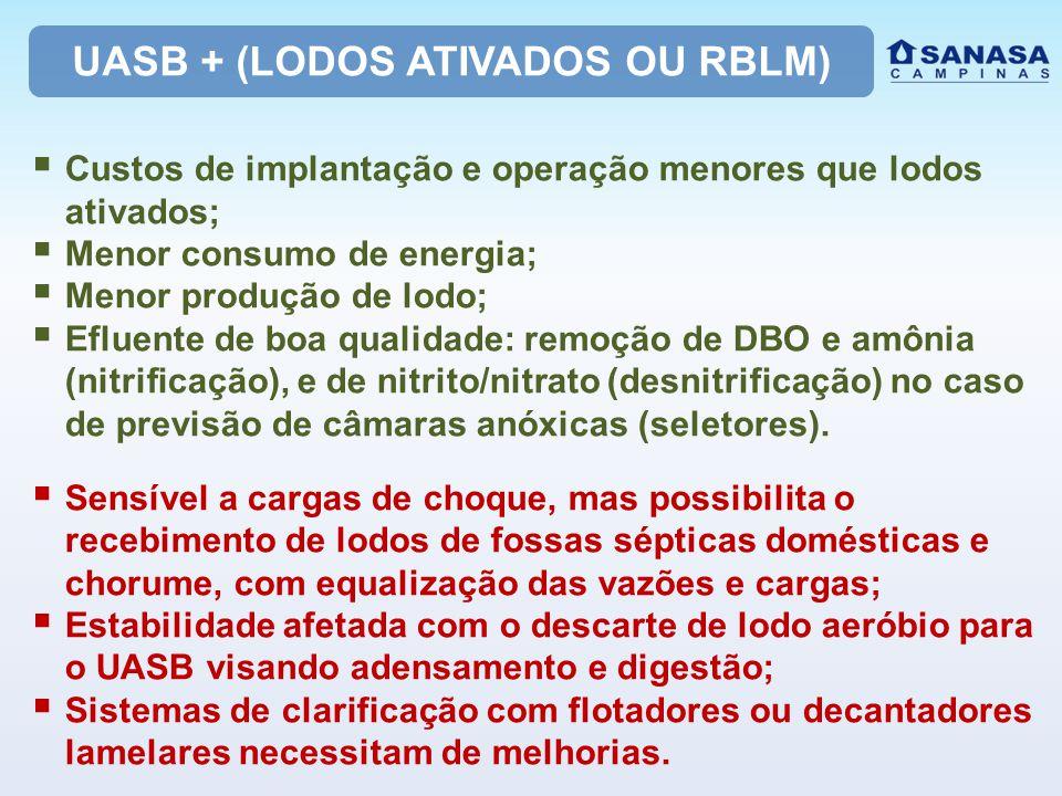 UASB + (LODOS ATIVADOS OU RBLM)