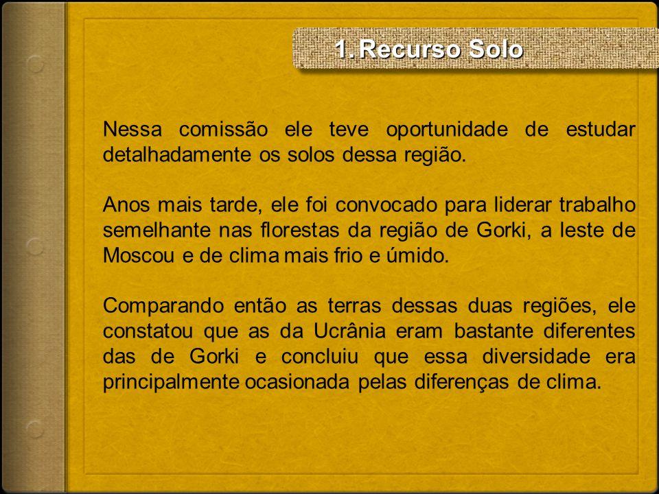 Recurso Solo Nessa comissão ele teve oportunidade de estudar detalhadamente os solos dessa região.