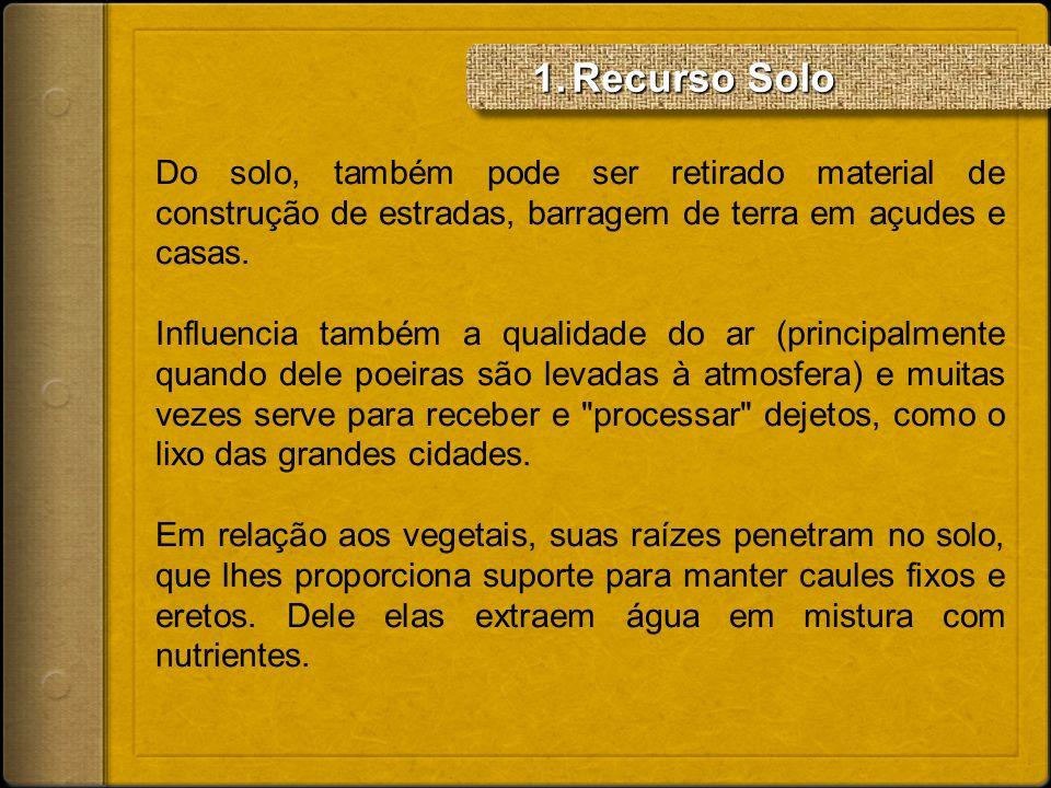 Recurso SoloDo solo, também pode ser retirado material de construção de estradas, barragem de terra em açudes e casas.