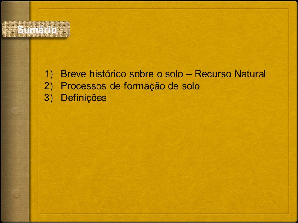 Sumário Breve histórico sobre o solo – Recurso Natural Processos de formação de solo Definições