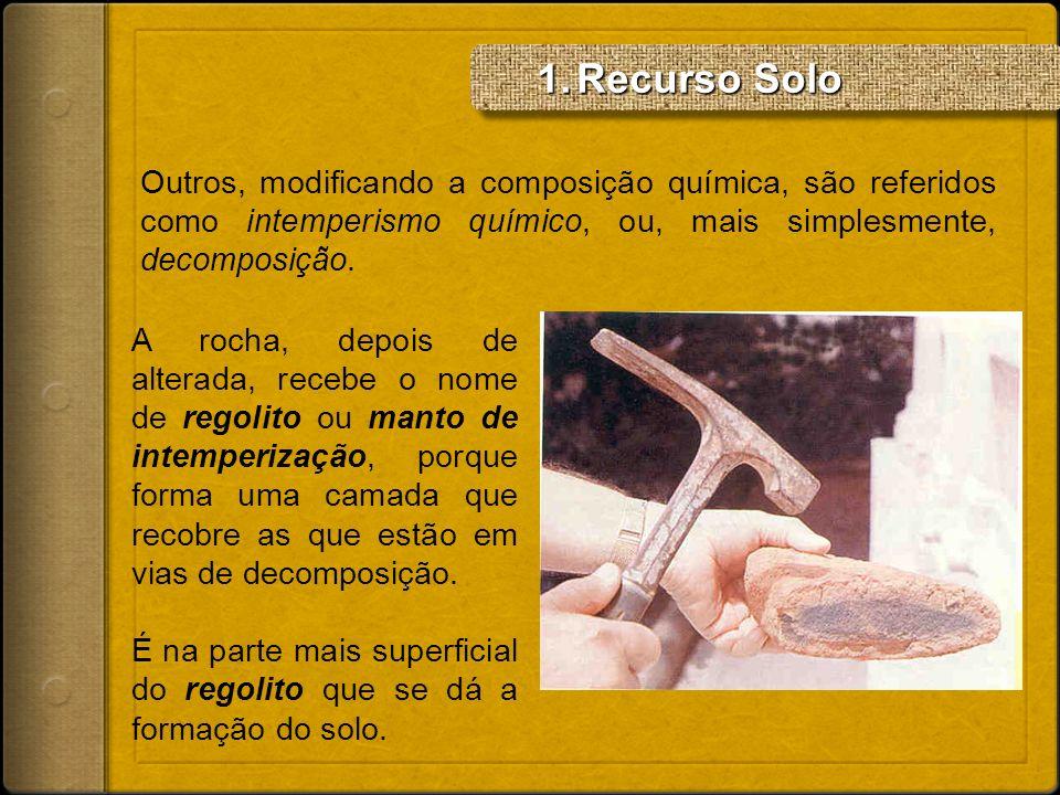 Recurso SoloOutros, modificando a composição química, são referidos como intemperismo químico, ou, mais simplesmente, decomposição.