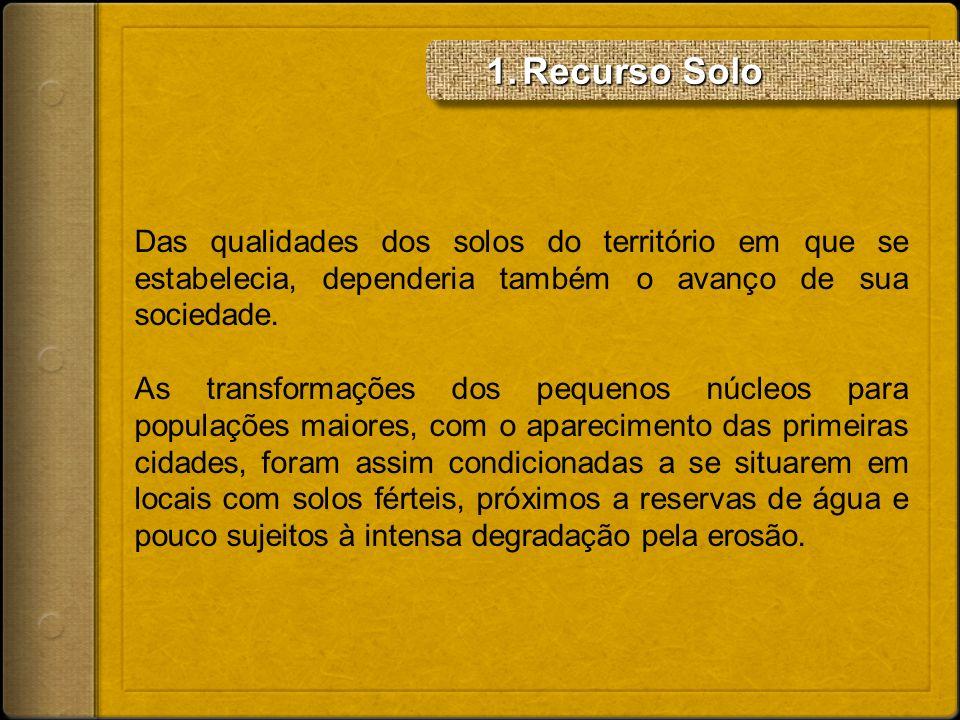 Recurso Solo Das qualidades dos solos do território em que se estabelecia, dependeria também o avanço de sua sociedade.