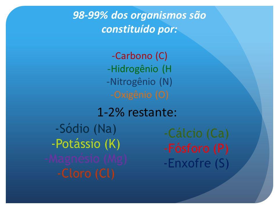 98-99% dos organismos são constituído por:
