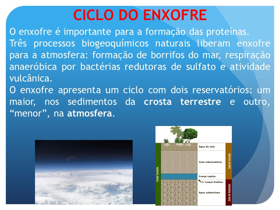 CICLO DO ENXOFRE O enxofre é importante para a formação das proteínas.
