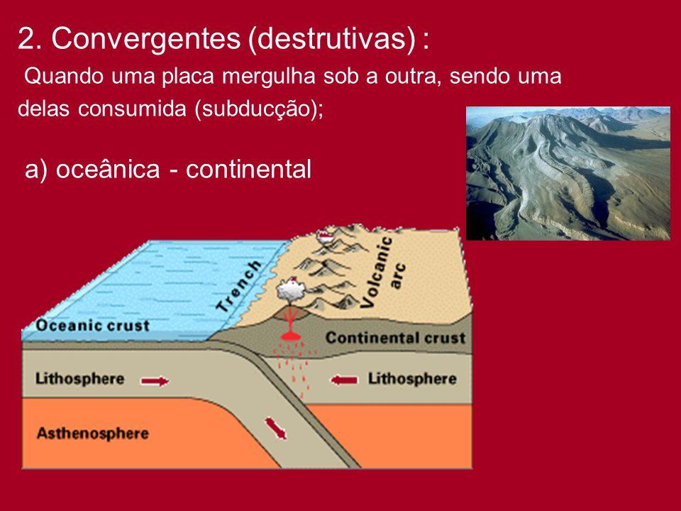 2. Convergentes (destrutivas) :