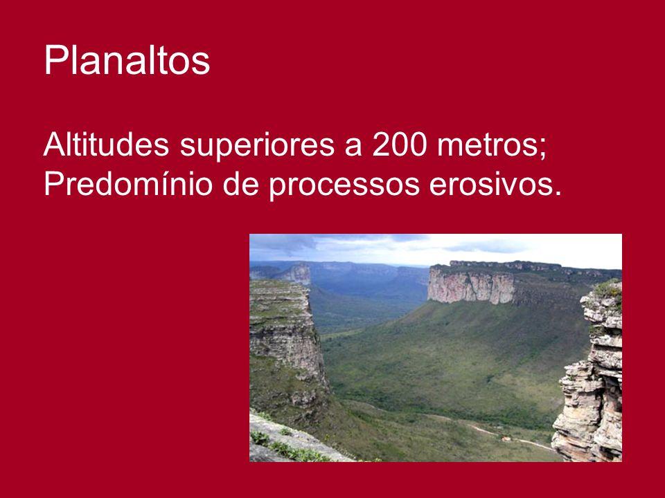 Planaltos Altitudes superiores a 200 metros;