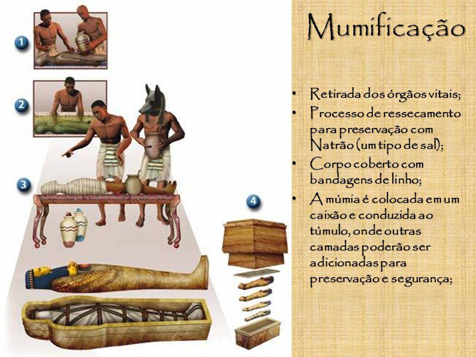 Mumificação Retirada dos órgãos vitais;