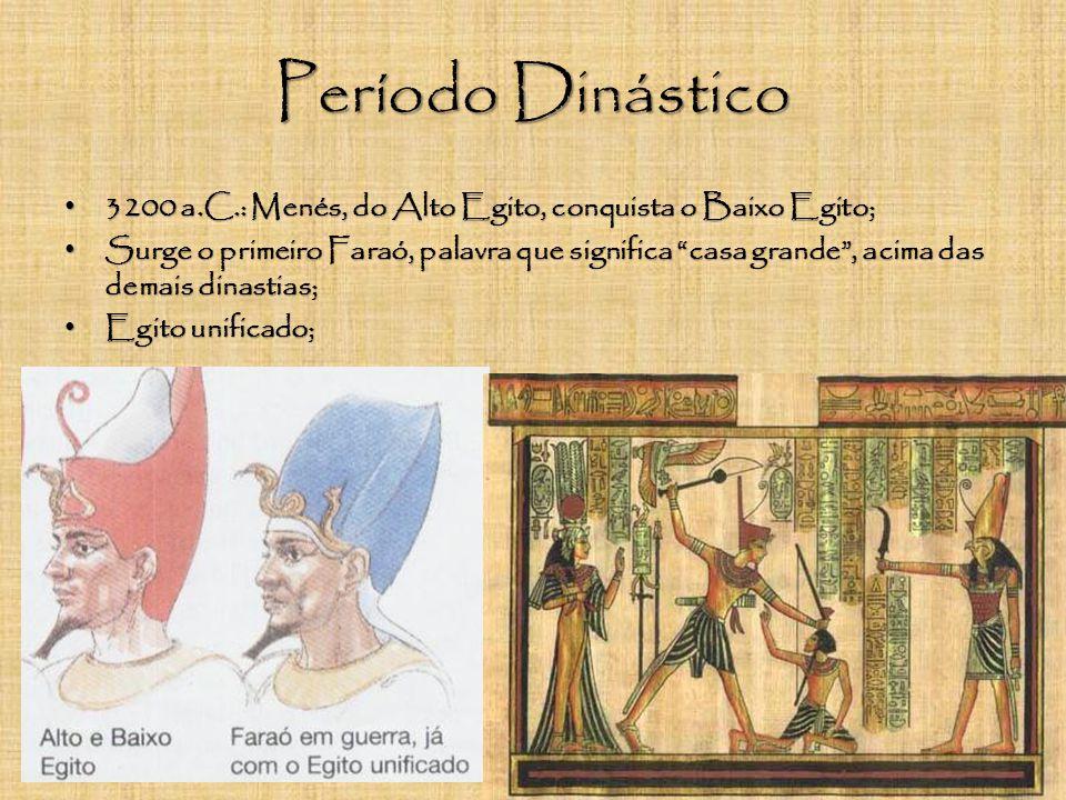 Período Dinástico 3200 a.C.: Menés, do Alto Egito, conquista o Baixo Egito;