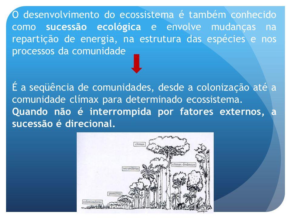 O desenvolvimento do ecossistema é também conhecido como sucessão ecológica e envolve mudanças na repartição de energia, na estrutura das espécies e nos processos da comunidade