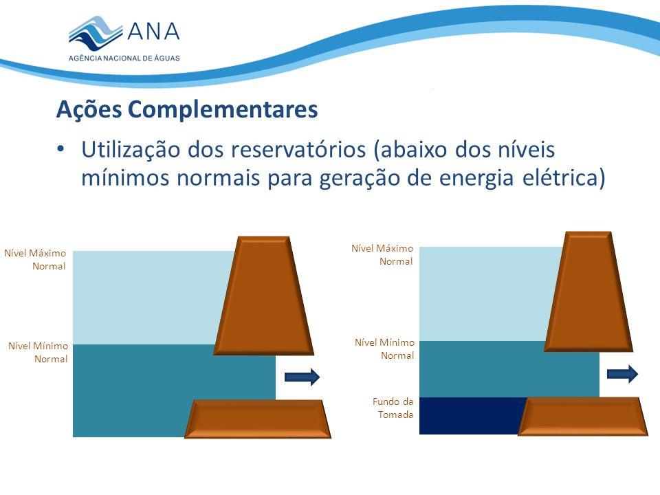 Ações Complementares Utilização dos reservatórios (abaixo dos níveis mínimos normais para geração de energia elétrica)