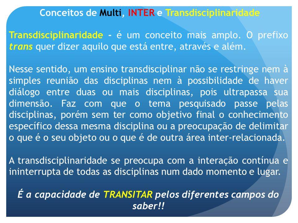É a capacidade de TRANSITAR pelos diferentes campos do saber!!