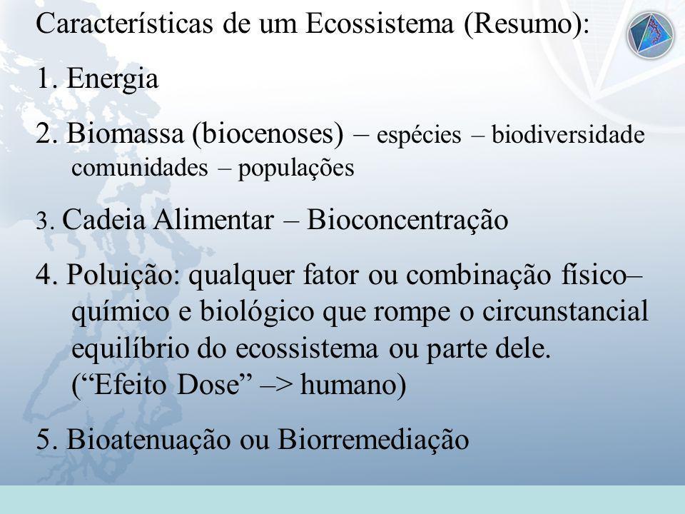 Características de um Ecossistema (Resumo): 1. Energia