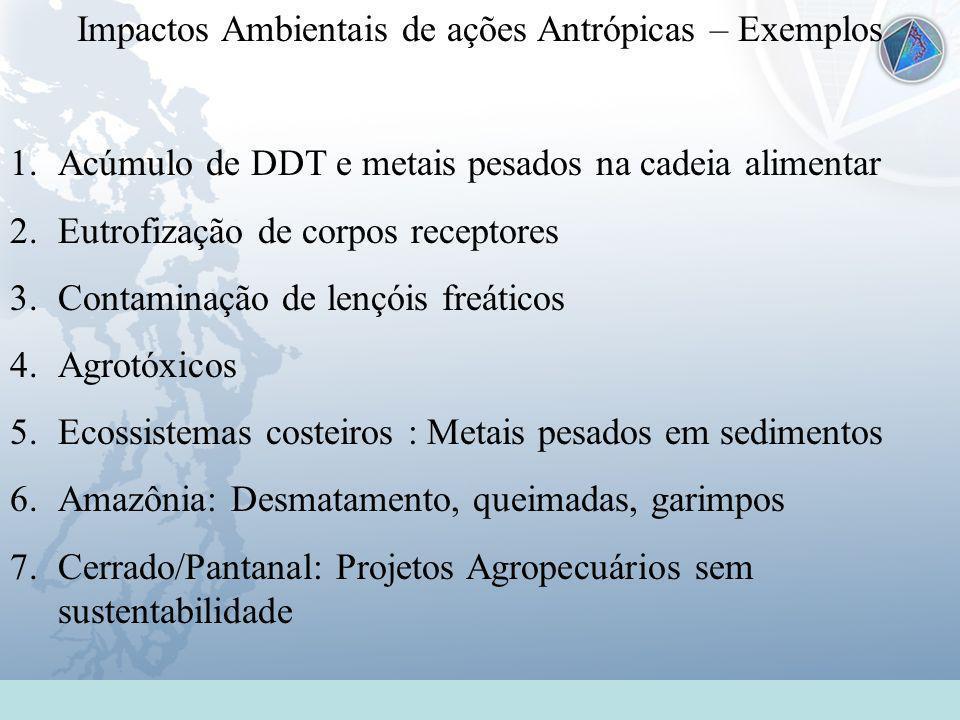 Impactos Ambientais de ações Antrópicas – Exemplos