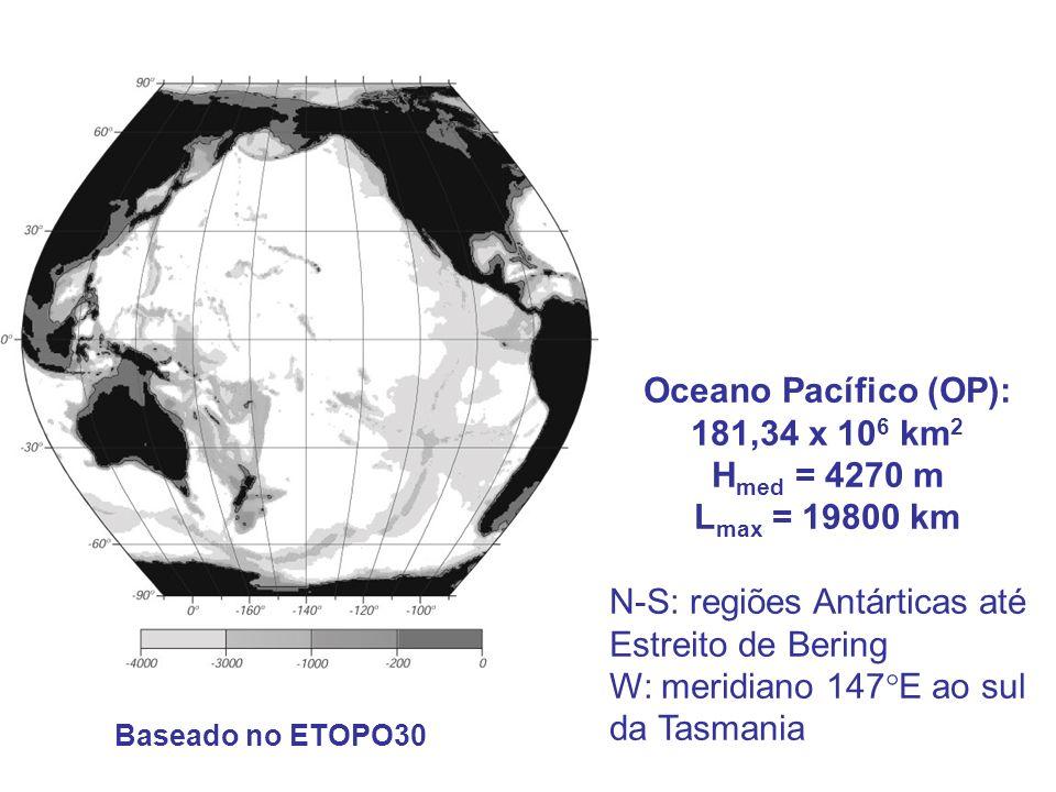 Oceano Pacífico (OP): 181,34 x 106 km2 Hmed = 4270 m Lmax = 19800 km