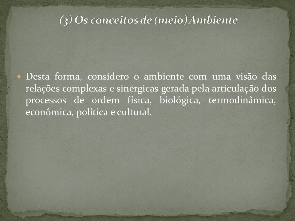 (3) Os conceitos de (meio) Ambiente