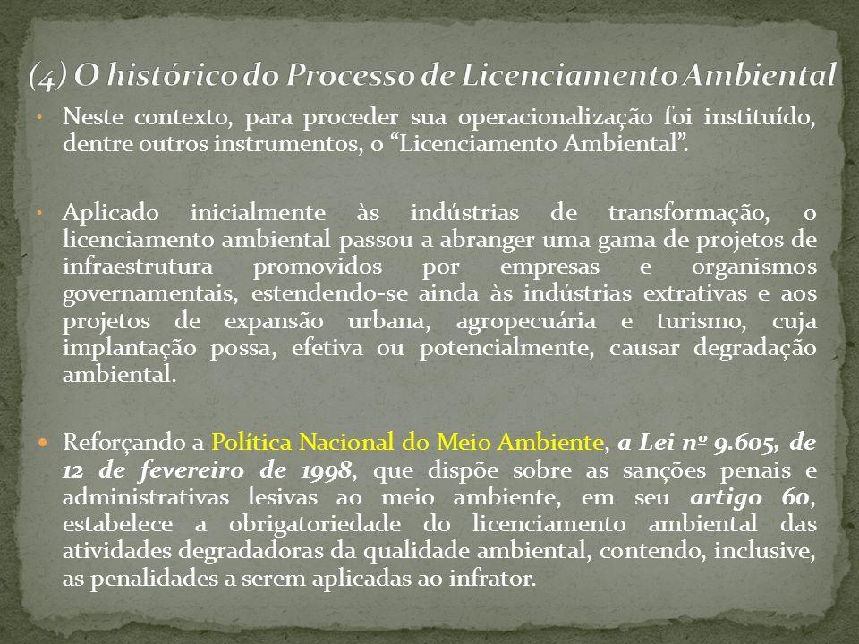 (4) O histórico do Processo de Licenciamento Ambiental
