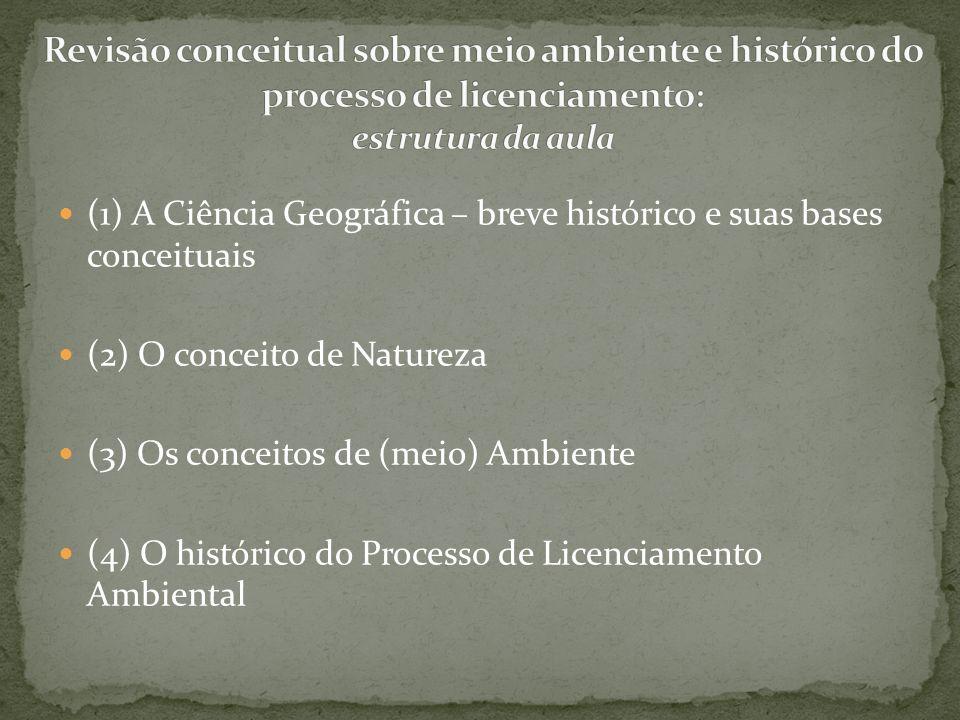 Revisão conceitual sobre meio ambiente e histórico do processo de licenciamento: estrutura da aula