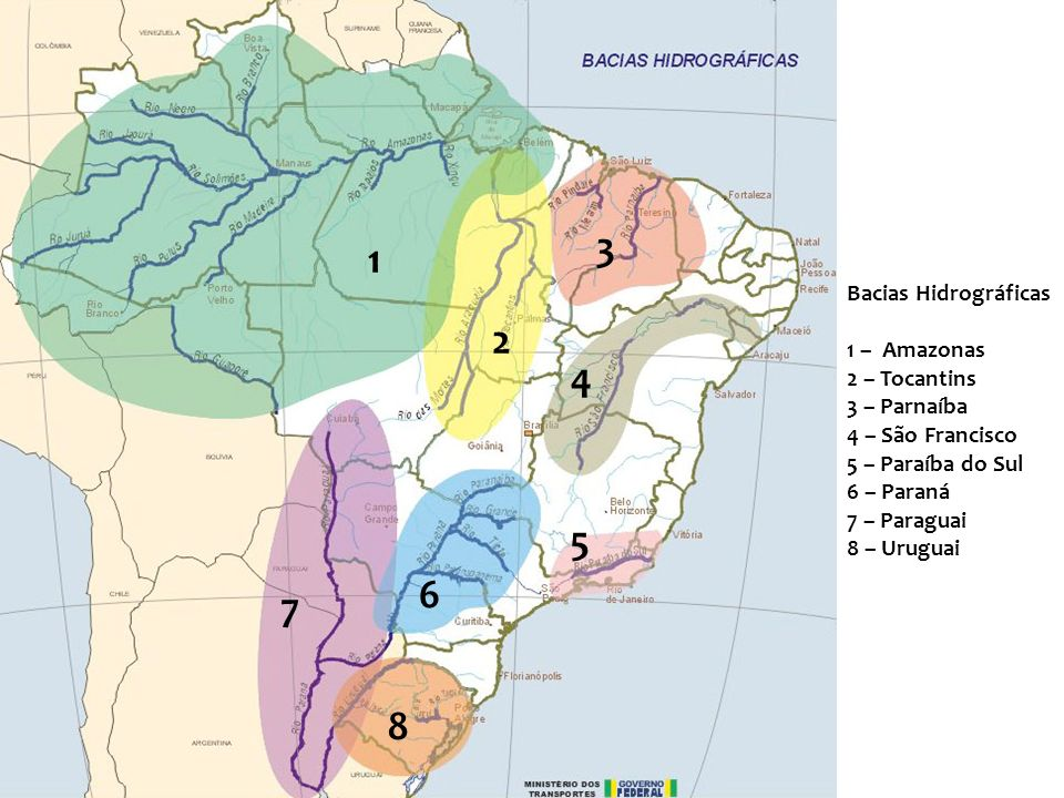 3 1 2 4 5 6 7 8 Bacias Hidrográficas 1 – Amazonas 2 – Tocantins