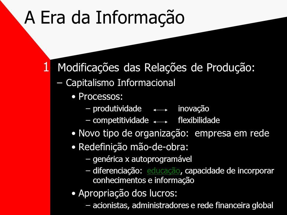 A Era da Informação 1 Modificações das Relações de Produção: