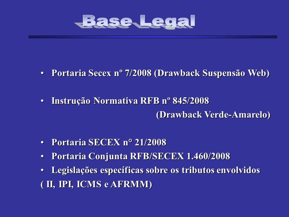 Base Legal Portaria Secex nº 7/2008 (Drawback Suspensão Web)