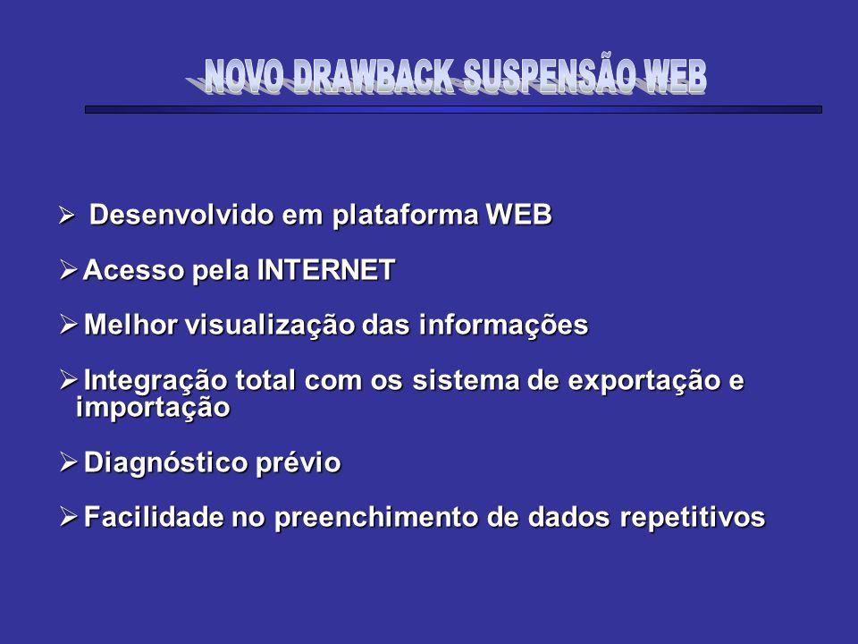 NOVO DRAWBACK SUSPENSÃO WEB