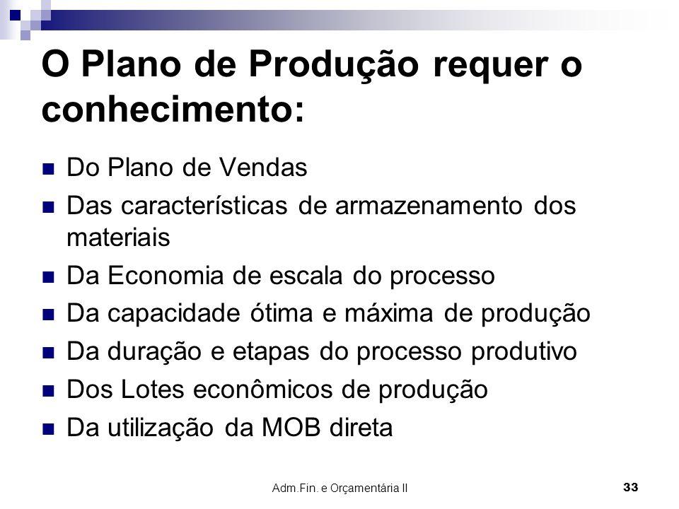 O Plano de Produção requer o conhecimento: