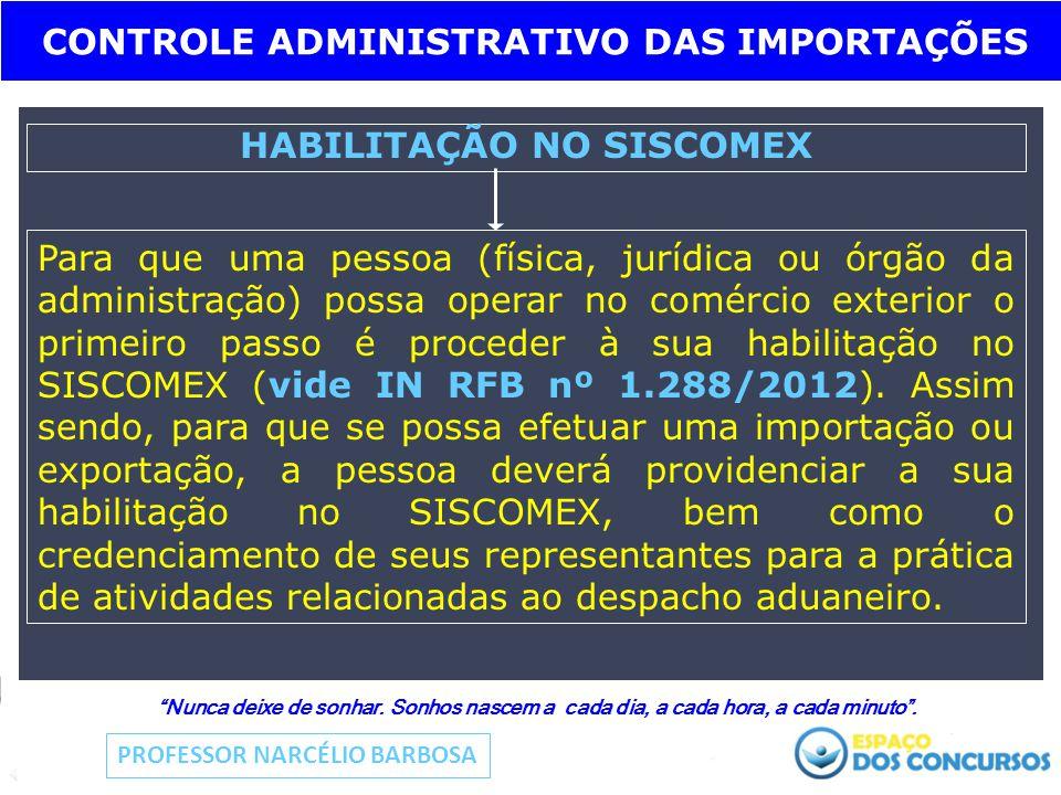 CONTROLE ADMINISTRATIVO DAS IMPORTAÇÕES HABILITAÇÃO NO SISCOMEX