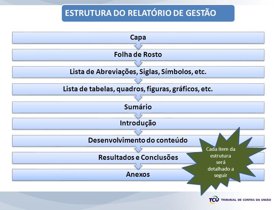 ESTRUTURA DO RELATÓRIO DE GESTÃO