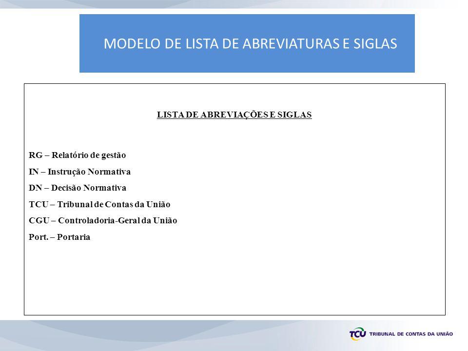 MODELO DE LISTA DE ABREVIATURAS E SIGLAS