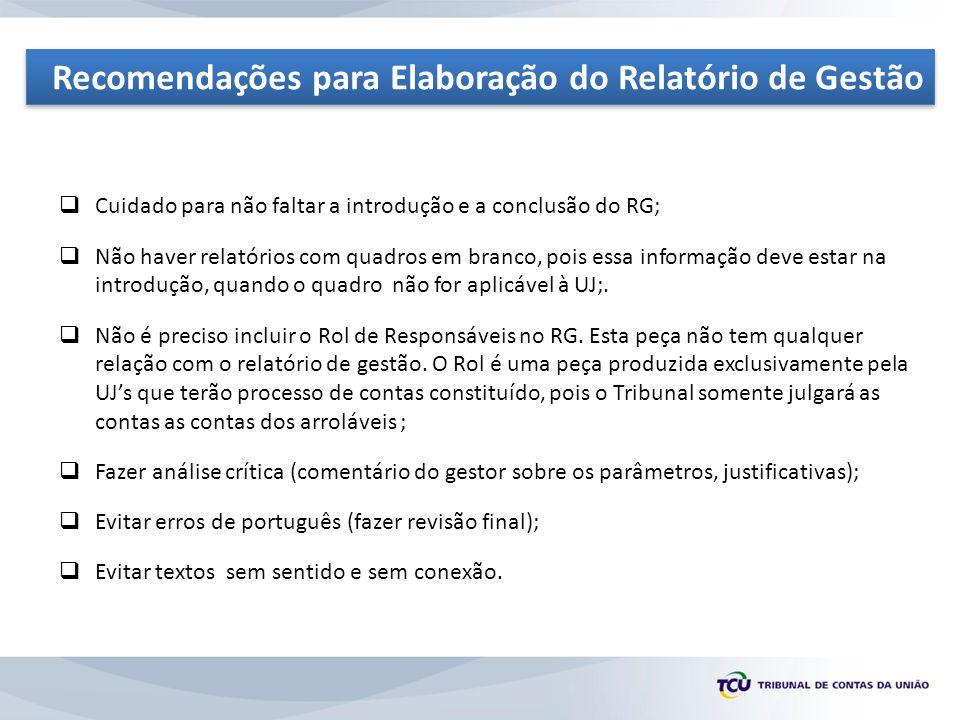 Recomendações para Elaboração do Relatório de Gestão