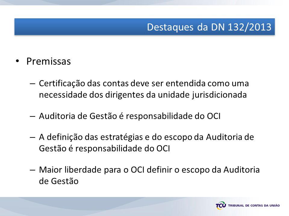 Destaques da DN 132/2013 Premissas