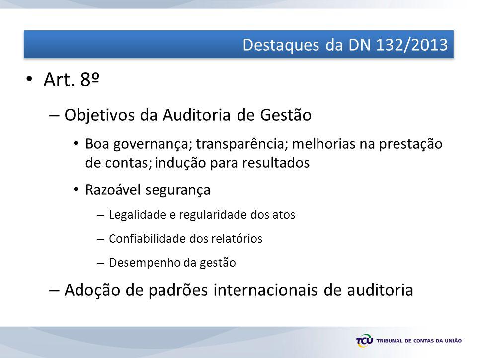 Art. 8º Destaques da DN 132/2013 Objetivos da Auditoria de Gestão