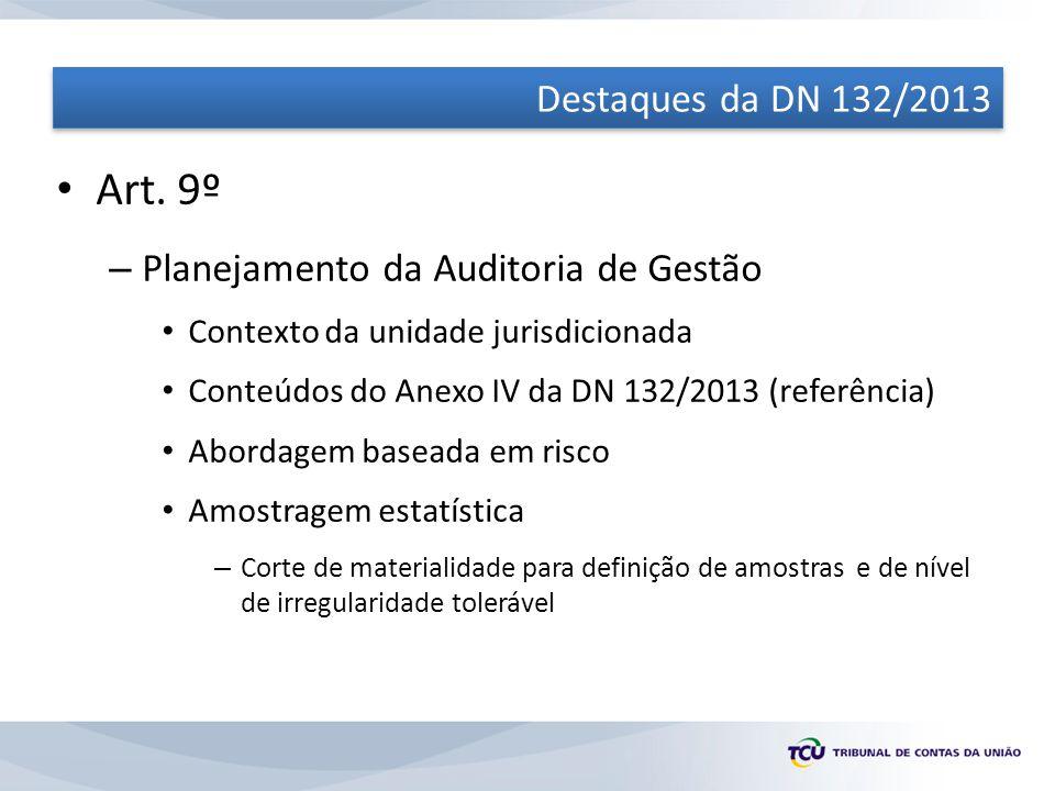 Art. 9º Destaques da DN 132/2013 Planejamento da Auditoria de Gestão