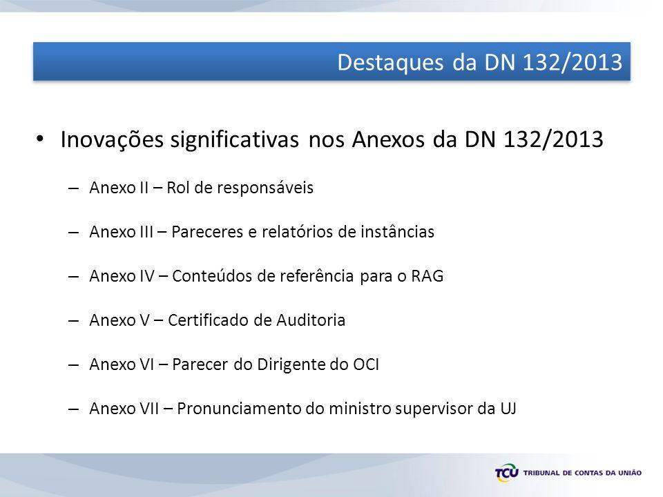 Inovações significativas nos Anexos da DN 132/2013