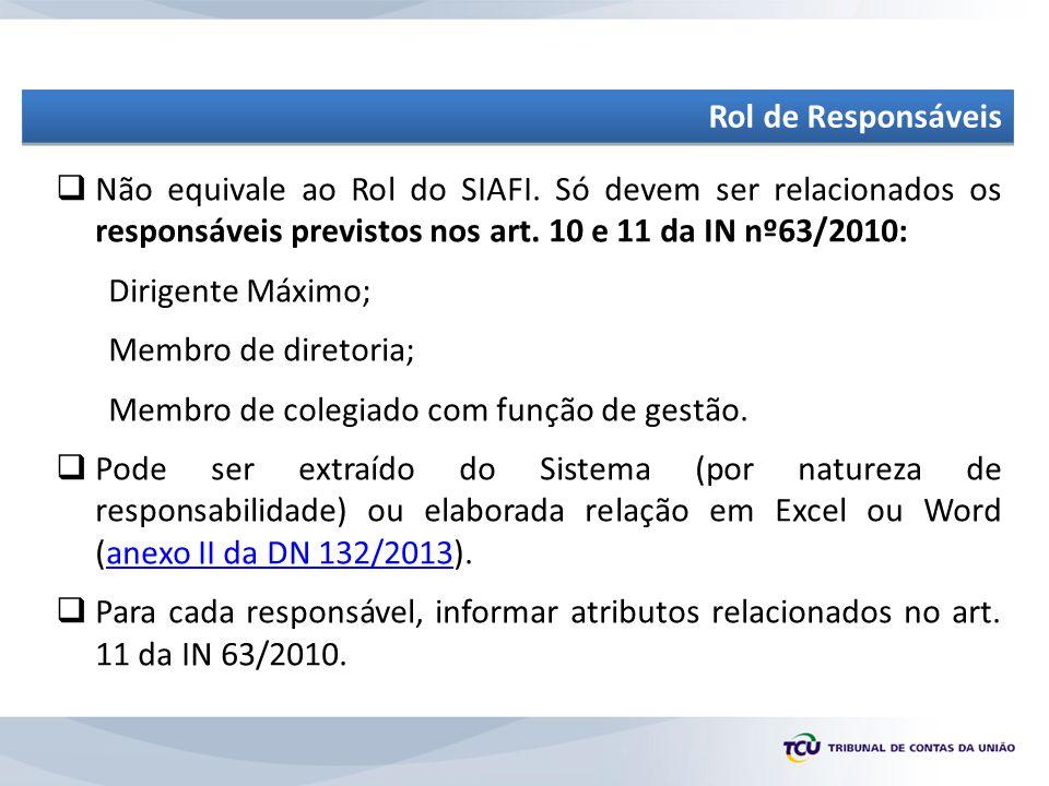 Rol de Responsáveis Não equivale ao Rol do SIAFI. Só devem ser relacionados os responsáveis previstos nos art. 10 e 11 da IN nº63/2010: