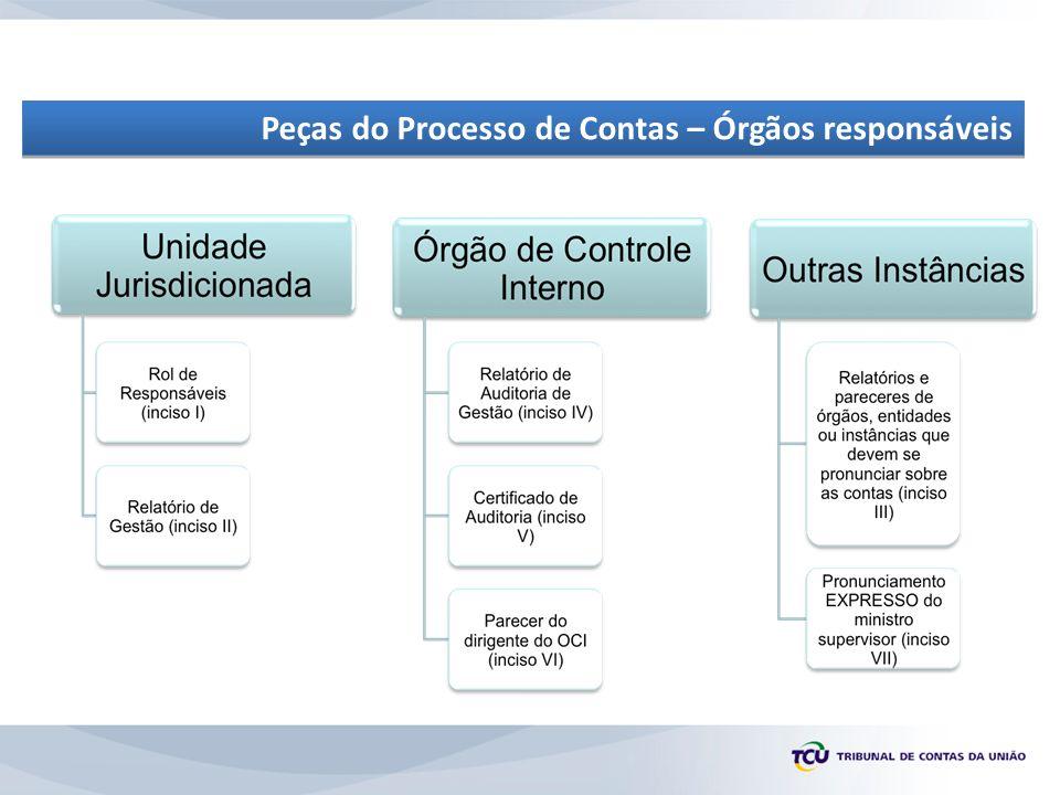 Peças do Processo de Contas – Órgãos responsáveis