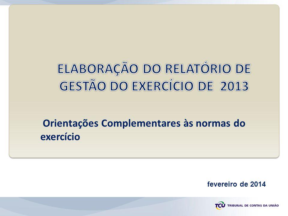 ELABORAÇÃO DO RELATÓRIO DE GESTÃO DO EXERCÍCIO DE 2013