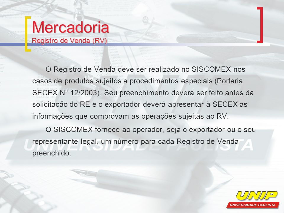 Mercadoria Registro de Venda (RV)