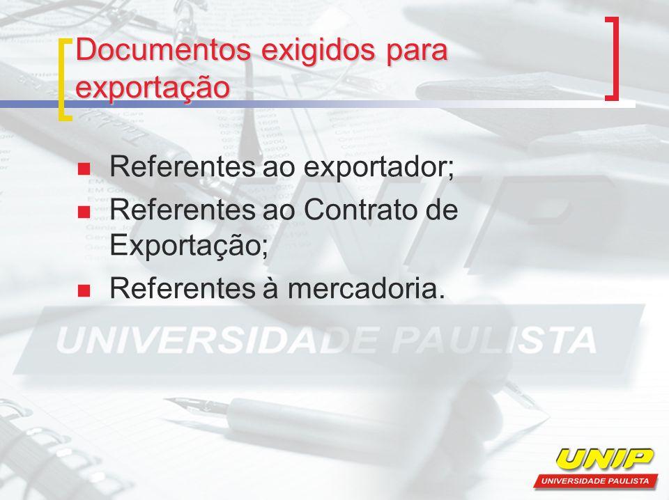 Documentos exigidos para exportação