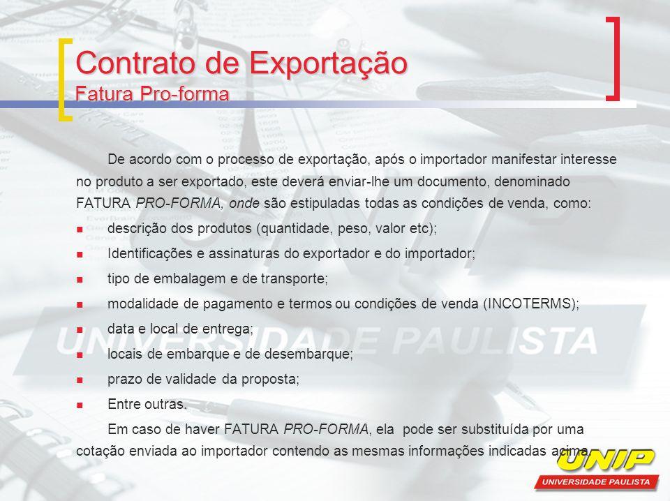 Contrato de Exportação Fatura Pro-forma