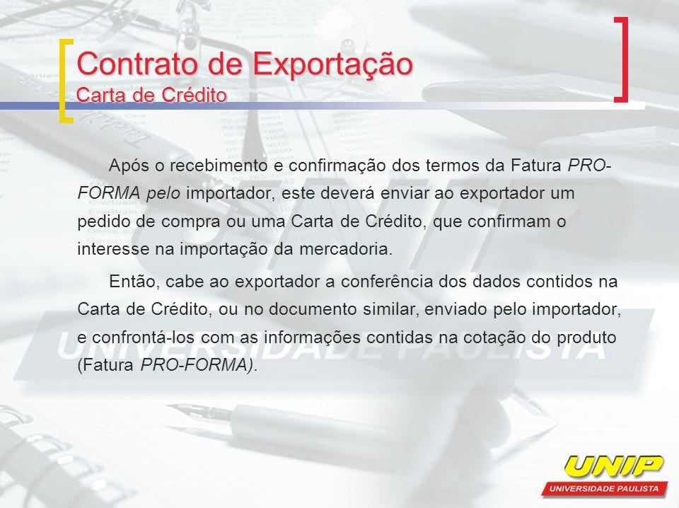 Contrato de Exportação Carta de Crédito