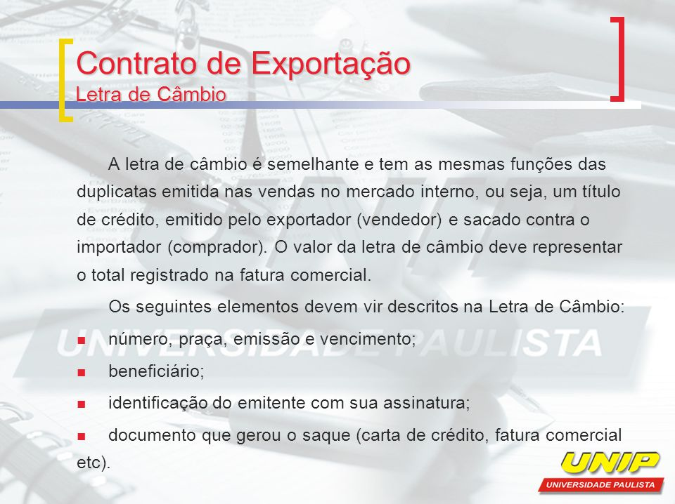 Contrato de Exportação Letra de Câmbio