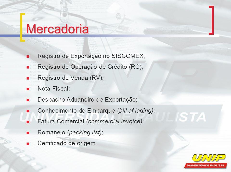 Mercadoria Registro de Exportação no SISCOMEX;